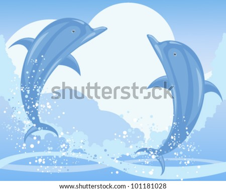 a vector illustration in eps 10 format of two blue dolphins jumping from the sea with waves bubbles and foam under a pale sky - stock vector
