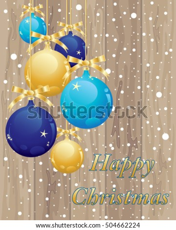a vector illustration in eps 10 format of wooden floor boards with blue and gold baubles with snowflakes in a christmas greeting card format