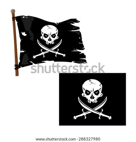 A vector illustration Jolly Roger Flag with Skull and crossed blades. Jolly Roger Pirate Flag icon illustration. Skull with crossed swords.