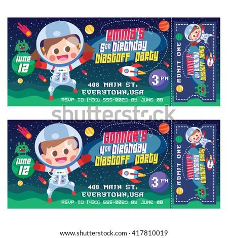 vector illustration kids space ticket invitation stock vector 417810019 shutterstock. Black Bedroom Furniture Sets. Home Design Ideas
