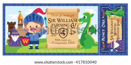 Vector illustration little medieval knight magician stock vector a vector illustration little medieval knight magician and dragon ticket invitation castle party stopboris