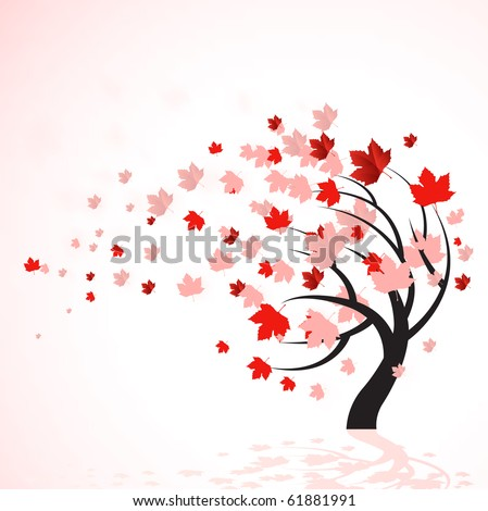 A vector illustration of a autumn tree with red leaves blowing in the wind.