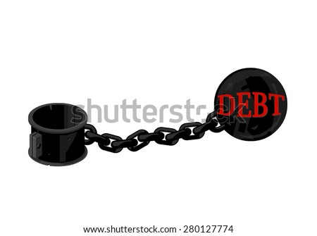 A vector illustration of a ball and chain as a Debt Burden concept. Ball and Chain Debt heavy weight Icon. High rate of Debt cash bad flow illustration concept. - stock vector