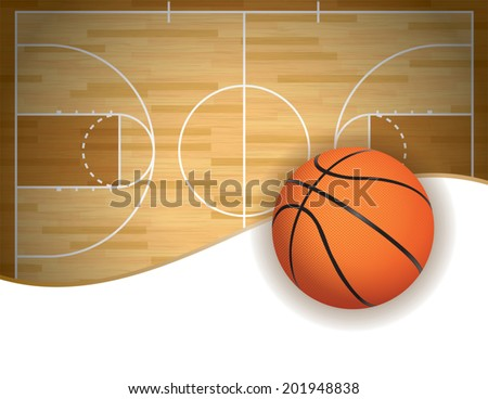 A vector illustration of a basketball court and ball background. Room for copy space. Vector EPS 10. EPS uses transparencies. - stock vector