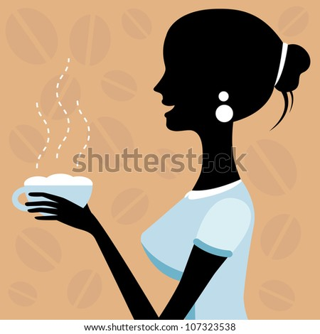 A vector illustration of a beautiful woman drinking coffee - stock vector