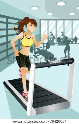 "A vector illustration of a beautiful woman exercise in a gym.  Part of ""A Day In Life"" series - stock vector"