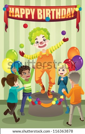A vector illustration of a birthday party with a clown - stock vector