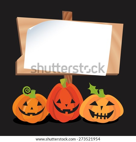A vector illustration of a blank copy space wooden sign with a bunch of halloween jack o lantern pumpkins. - stock vector