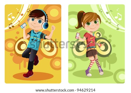 A vector illustration of a boy and a girl listening to music - stock vector