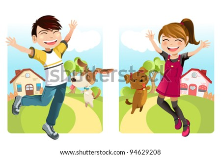 A vector illustration of a boy and a girl with a dog - stock vector