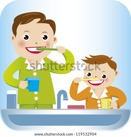 A vector illustration of a boy and father brushing his teeth - stock vector