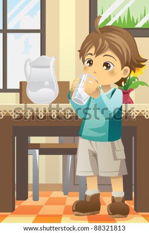 A vector illustration of a boy drinking water - stock vector