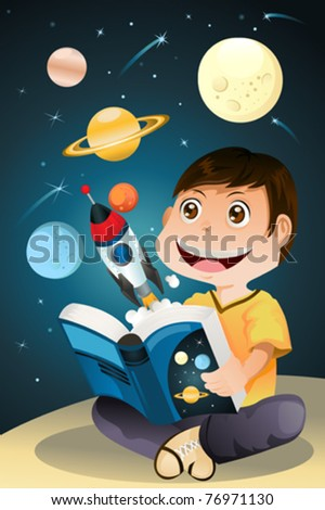 A vector illustration of a boy reading an astronomy science book - stock vector