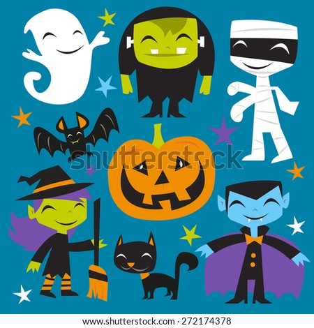 A vector illustration of a bunch of happy jolly halloween monsters and creatures. Included in this set:- ghost, frankenstein, mummy, dracula, pumpkin, bat, witch and black cat. - stock vector