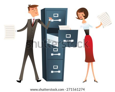 A vector illustration of a business man and woman with a filing cabinet. This illustration is done in the style of retro mid century modern. - stock vector