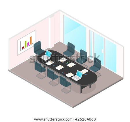 A vector illustration of a Business Meeting internet Icon. Isometric conference room interior. Education and learning in Business meeting in modern office. - stock vector