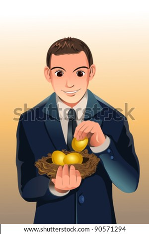 A vector illustration of a businessman holding a egg nest, a concept of financial savings - stock vector