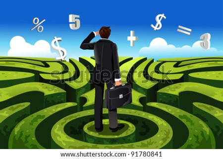 A vector illustration of a businessman in maze facing a financial decision - stock vector