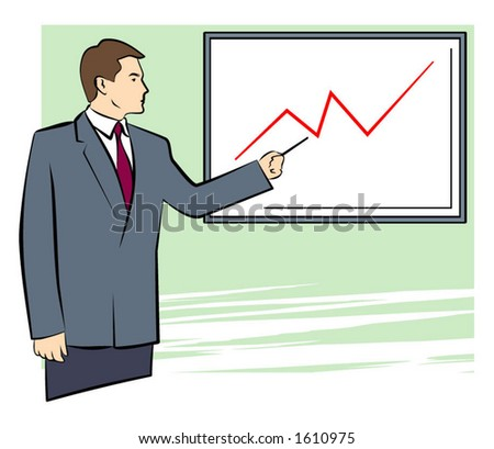 A Vector Illustration of a Businessman Pointing on a Graph