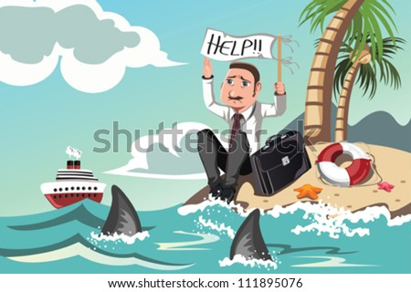 A vector illustration of a businessman stranded in an island asking for help