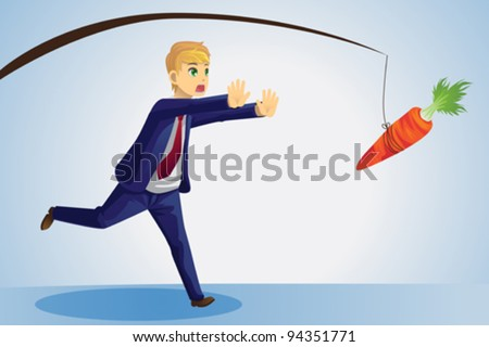 A vector illustration of a businessman trying to reach a carrot dangled on a stick in front of him - stock vector