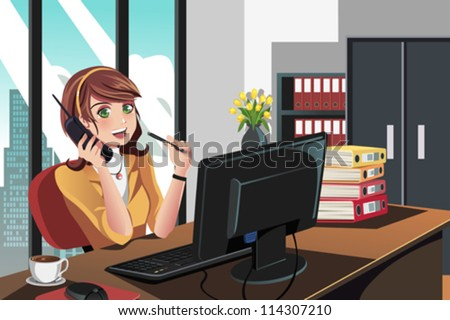 A vector illustration of a businesswoman working in the office - stock vector