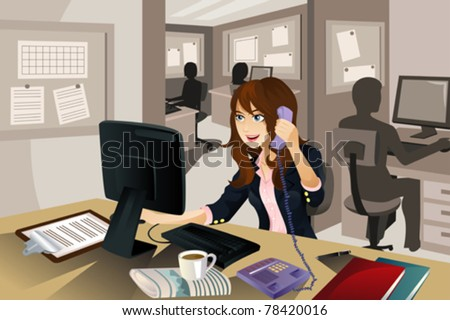 "A vector illustration of a businesswoman working in the office. Part of ""A Day In Life"" series - stock vector"