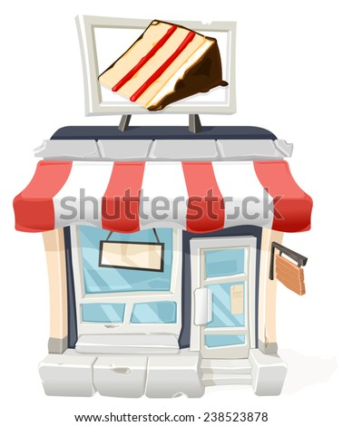 A vector illustration of a cake shop with sign and awning. Cake Shop - stock vector