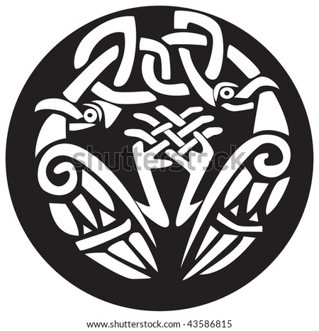 vector illustration of a Celtic Viking bird animal pattern and knots ...