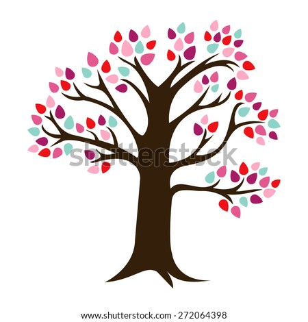 A vector illustration of a chic retro tree with colorful leaves.