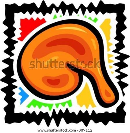 A vector illustration of a chicken leg. - stock vector