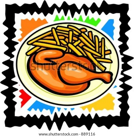 A vector illustration of a chicken with potatoes. - stock vector