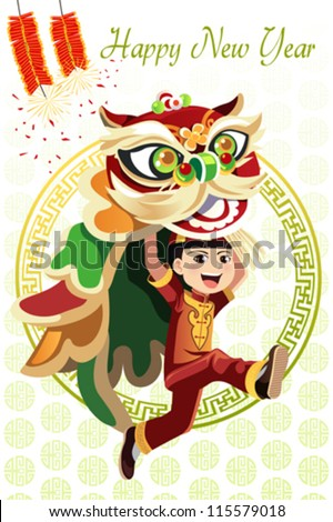 A vector illustration of a Chinese boy dancing a Lion dance