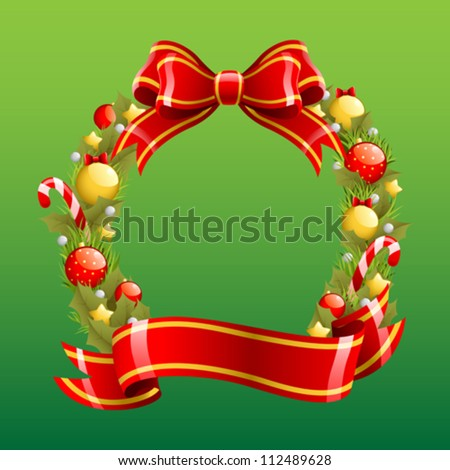 A vector illustration of a Christmas wreath - stock vector