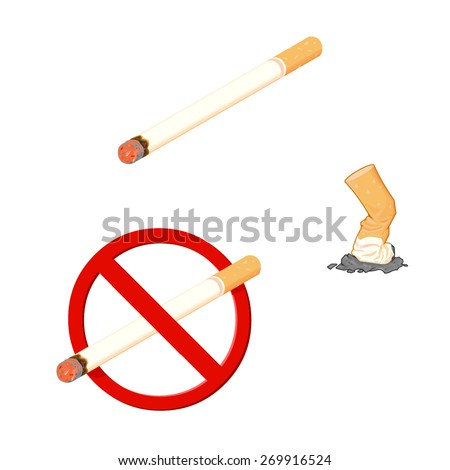 A vector illustration of a cigarette depicting a no smoking concept. Cigarette Smoking. Cigarette with a no smoking symbol. - stock vector