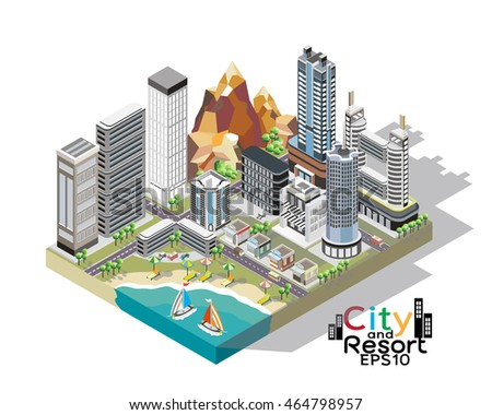 A vector illustration of a city beside the seaside for a vacation or holiday. City vacation. 3D isometric