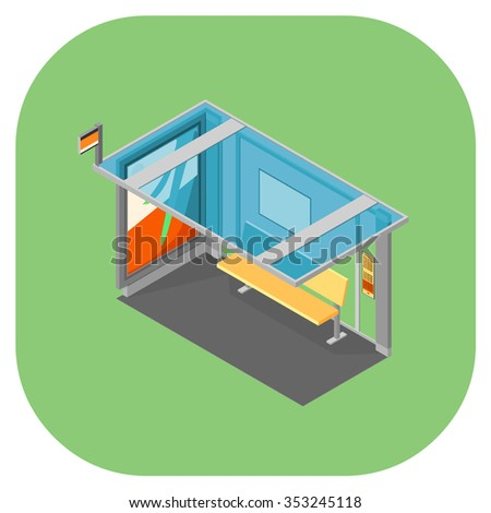 A vector illustration of a coach shelter. Isometric bus stop with bus timetable. Shelter and seating for coach or bus stops.