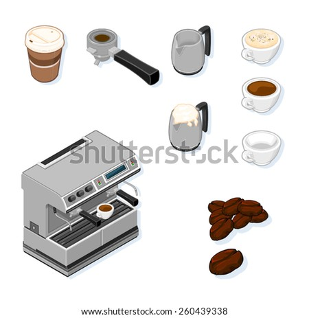 A vector illustration of a coffee machine and equipment needed. Coffee Icon Set. Isometric coffee machine set. - stock vector