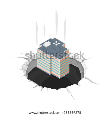 A vector illustration of a company in financial difficulty. Bankrupt Company Icon illustration. Company or corporation bankruptcy concept. - stock vector