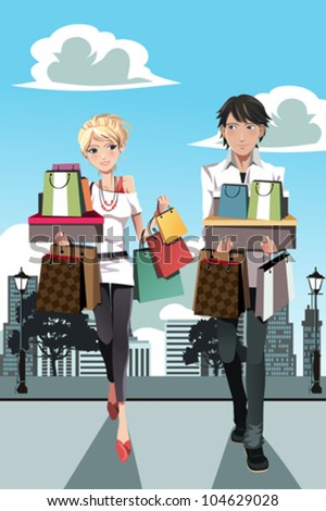 A vector illustration of a couple shopping in the city - stock vector