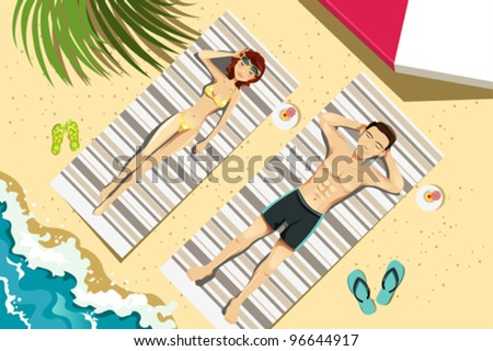 A vector illustration of a couple sunbathing on the beach - stock vector