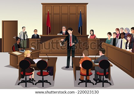 A vector illustration of a court scene - stock vector