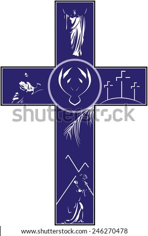 A vector illustration of a cross filled with illustrations depicting the story of the crucifixion and resurrection of Christ.  - stock vector