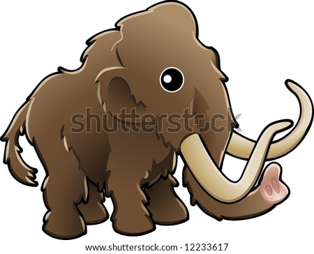 A vector illustration of a cute friendly woolly mammoth - stock vector