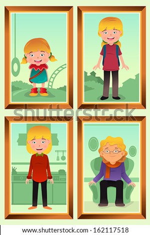 A vector illustration of a different stage of life of a woman from young to old for evolution concept - stock vector