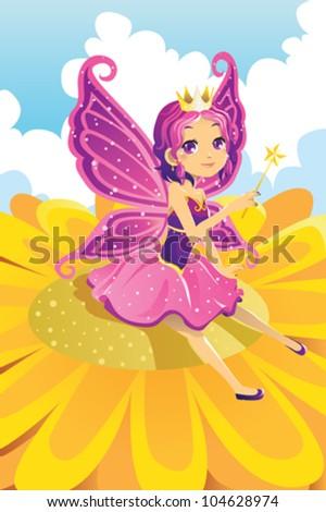 A vector illustration of a fairy princess - stock vector