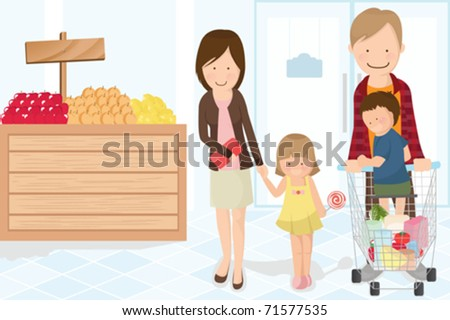 A vector illustration of a family doing grocery shopping - stock vector