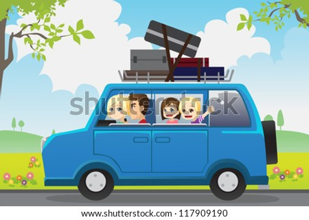 A vector illustration of  a family traveling in a car - stock vector