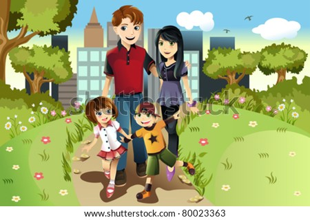 A vector illustration of a family walking in the park - stock vector