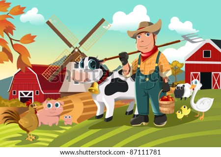 A vector illustration of a farmer at his farm with a bunch of farm animals - stock vector